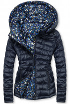 Oboustranná bunda s květinovým futrem tmavě modrá