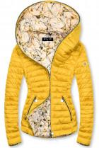 Žlutá prošívaná bunda se vzorovanou podšívkou