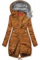Hnědá prodloužená bunda s kapucí