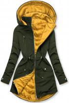 Parka s odepínatelnou kapucí khaki/žlutá