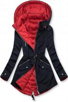 Modro/červená parka s kapucí