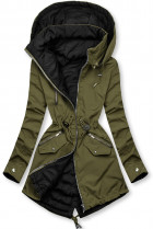 Khaki/černá parka s kapucí