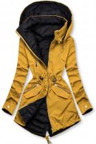 Žluto/modrá parka s kapucí