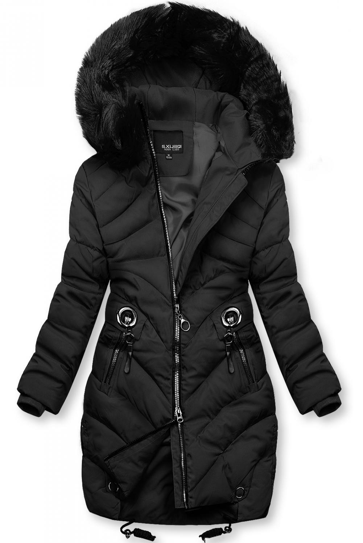 Černá zimní bunda s umělou kožešinou