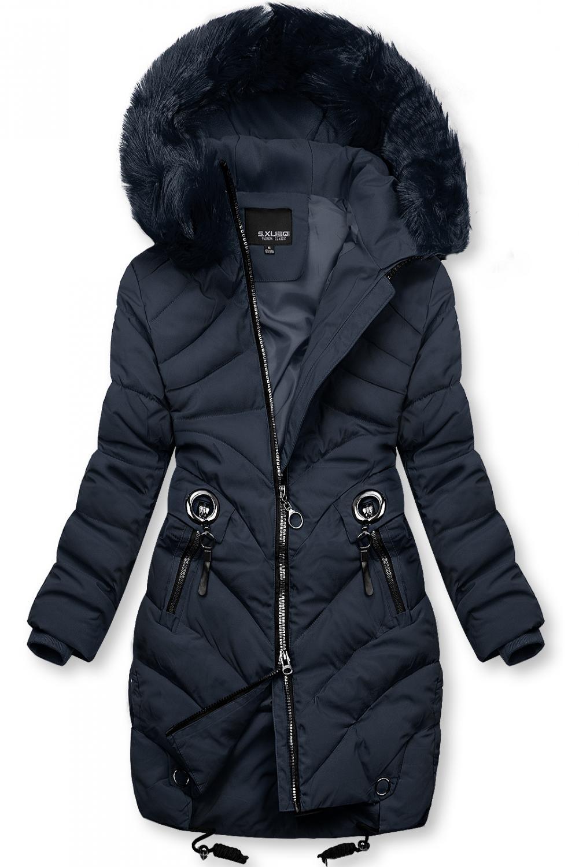 Modrá zimní bunda s umělou kožešinou